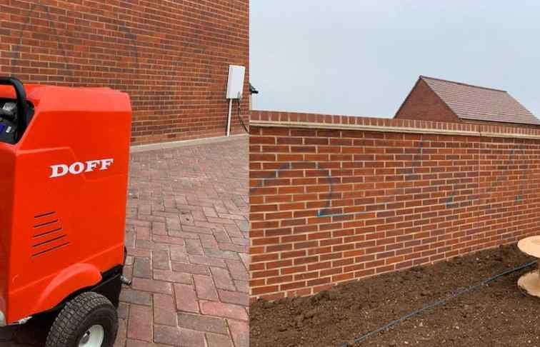 Graffiti removal from brickwork at new estate in Abingdon, Oxfordshire