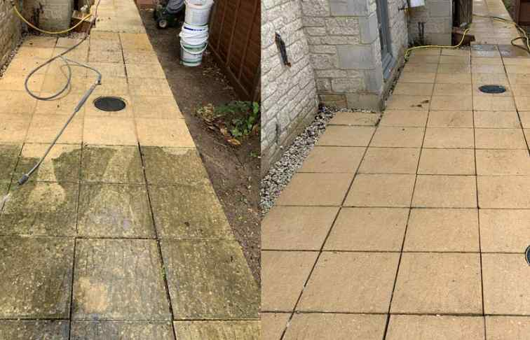 Slabbed pathway jet washed at home in Didcot, Oxfordshire